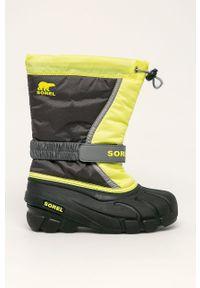Szare buty zimowe sorel z cholewką, z okrągłym noskiem, na zimę