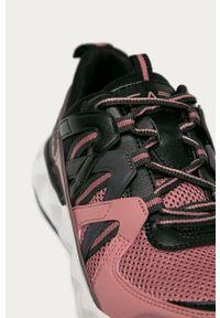 Czarne buty sportowe EA7 Emporio Armani na sznurówki, z cholewką, na średnim obcasie