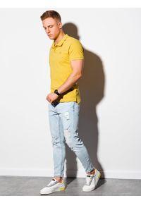 Żółta koszulka polo Ombre Clothing polo, z haftami, klasyczna