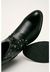 Czarne botki Haily's na zamek, z cholewką