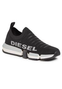 Czarne sneakersy Diesel na co dzień, z cholewką