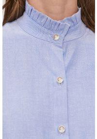 Scotch & Soda - Koszula bawełniana. Typ kołnierza: kołnierzyk stójkowy. Kolor: niebieski. Materiał: bawełna. Długość rękawa: długi rękaw. Długość: długie
