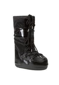 Czarne śniegowce Moon Boot klasyczne, na sznurówki, na zimę