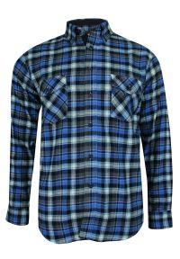 ForMax - Koszula Casualowa w Kratkę Niebiesko-Szarą, 100% Bawełna, Flanelowa, Slim, Długi Rękaw -FORMAX. Okazja: na co dzień. Kolor: niebieski. Materiał: bawełna. Długość rękawa: długi rękaw. Długość: długie. Wzór: kratka. Styl: casual