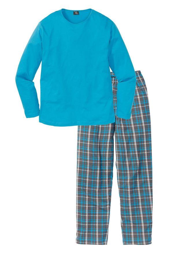 Piżama bonprix turkusowy w kratę. Kolor: szary. Długość: długie