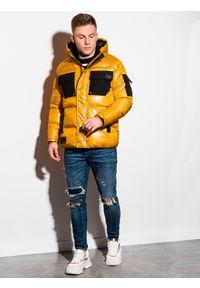 Żółta kurtka Ombre Clothing z aplikacjami, na zimę