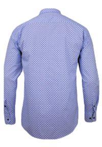 Niebieska elegancka koszula Rigon z długim rękawem, w geometryczne wzory