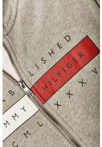 Szara bluza rozpinana TOMMY HILFIGER z nadrukiem, na co dzień, bez kaptura