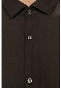 Czarna koszula Hugo z włoskim kołnierzykiem, długa, elegancka