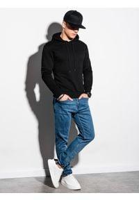Czarna bluza Ombre Clothing z nadrukiem, z kapturem