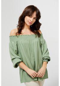 Zielona koszula MOODO długa, z długim rękawem, z dekoltem typu hiszpanka