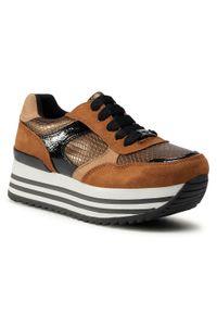 Brązowe buty sportowe Tom Tailor na co dzień, z cholewką, na koturnie