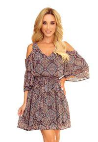 Numoco - Szyfonowa Sukienka z Szerokim Rękawem - Wzór Marokański. Materiał: szyfon