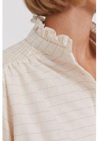 Mos Mosh - Bluzka bawełniana. Kolor: beżowy. Materiał: bawełna. Długość: krótkie