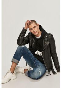 Czarna bluza nierozpinana Calvin Klein Jeans na co dzień, z nadrukiem, z kapturem, casualowa