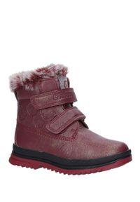 Czerwone buty zimowe Casu na rzepy