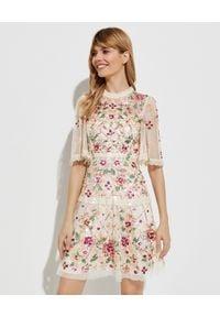 NEEDLE & THREAD - Beżowa sukienka z cekinami Trellis Rose. Okazja: na imprezę. Kolor: beżowy. Materiał: koronka. Wzór: aplikacja, kwiaty. Długość: mini