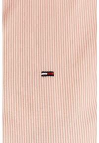 Różowa koszula Tommy Jeans długa, klasyczna