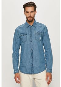 Niebieska koszula Guess Jeans klasyczna, na co dzień, z klasycznym kołnierzykiem