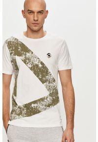 Biały t-shirt PRODUKT by Jack & Jones z nadrukiem, na co dzień, casualowy