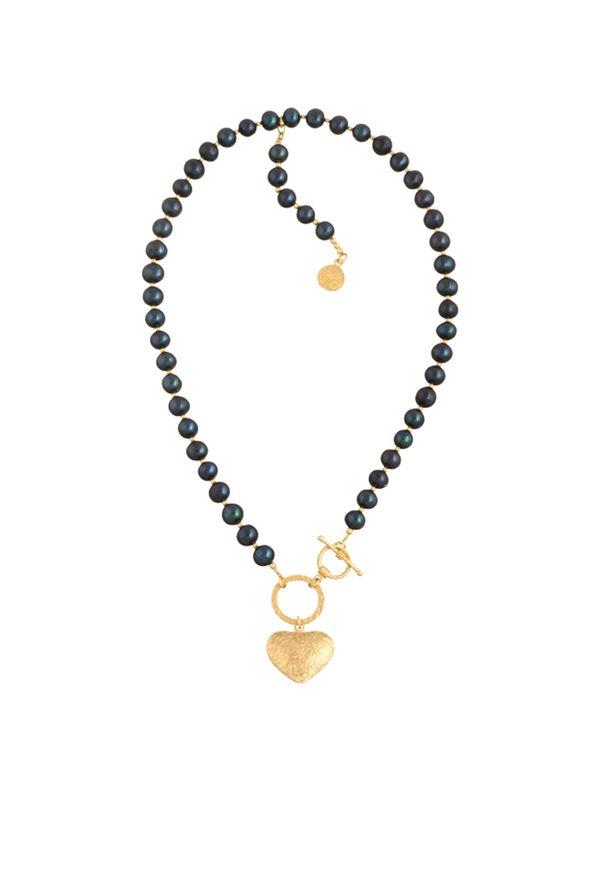 MOKOBELLE - Choker z ciemnych pereł z kołem i sercem. Materiał: srebrne, pozłacane, złote. Kolor: czarny. Kamień szlachetny: perła