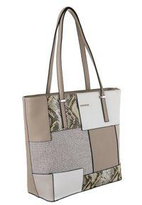 DAVID JONES - Shopper bag szary David Jones 6279-2 CREAMY GREY. Kolor: szary. Wzór: aplikacja. Materiał: skórzane