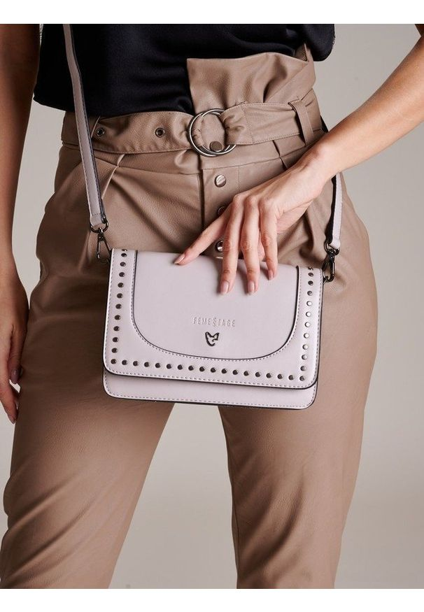 Szara torebka FEMESTAGE Eva Minge z aplikacjami, zdobiona