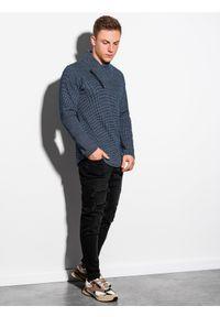 Ombre Clothing - Bluza męska bez kaptura B1181 - granatowa - XXL. Typ kołnierza: bez kaptura. Kolor: niebieski. Materiał: poliester, dzianina, akryl. Długość rękawa: długi rękaw. Długość: długie. Styl: klasyczny