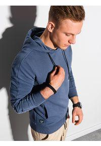 Ombre Clothing - Bluza męska z kapturem B1155 - ciemnoniebieska - XXL. Typ kołnierza: kaptur. Kolor: niebieski. Materiał: dzianina, dresówka, jeans, poliester, bawełna