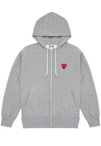 COMME DES GARCONS PLAY - Szara bluza z czerwonymi sercami. Typ kołnierza: kaptur. Kolor: szary. Materiał: dresówka, bawełna, jeans. Długość rękawa: długi rękaw. Długość: długie. Wzór: nadruk. Sezon: jesień #6