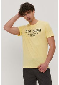 Tom Tailor - T-shirt. Okazja: na co dzień. Kolor: żółty. Wzór: nadruk. Styl: casual