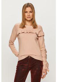 Różowy sweter Silvian Heach długi, na co dzień