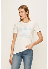 Biała bluzka adidas Originals casualowa, z okrągłym kołnierzem, na co dzień