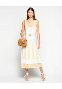 Pinko - PINKO - Sukienka plisowana Lipari. Kolor: biały. Materiał: materiał. Długość rękawa: na ramiączkach. Sezon: lato, wiosna. Typ sukienki: rozkloszowane, plisowane. Długość: midi