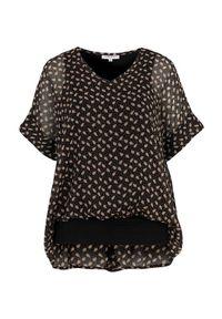Czarna bluzka Zhenzi z dekoltem w serek, elegancka, krótka