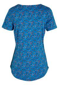 """Shirt bawełniany """"henley"""", krótki rękaw bonprix lodowy niebieski w kwiaty. Typ kołnierza: typu henley. Kolor: niebieski. Materiał: bawełna. Długość rękawa: krótki rękaw. Długość: krótkie. Wzór: kwiaty"""