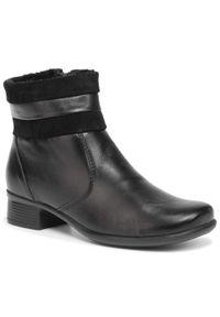 Czarne botki Comfortabel na obcasie, na średnim obcasie