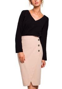MOE - Elegancka ołówkowa spódnica z ozdobnymi guzikami. Materiał: materiał, elastan. Wzór: aplikacja. Styl: elegancki