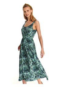 Wielokolorowa sukienka TOP SECRET z nadrukiem, maxi, prosta, casualowa