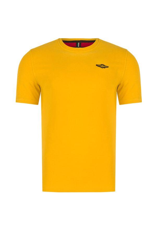 Żółty t-shirt Aeronautica Militare z aplikacjami