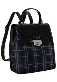 DAVID JONES - Plecak damski czarny krata David Jones 6630-2 BLACK. Kolor: czarny. Materiał: skóra ekologiczna. Wzór: kratka, aplikacja