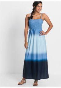 Długa sukienka batikowa bonprix niebieski z nadrukiem. Kolor: niebieski. Długość rękawa: na ramiączkach. Wzór: nadruk. Styl: elegancki. Długość: maxi