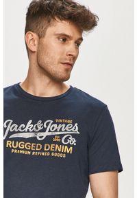 Niebieski t-shirt Premium by Jack&Jones z nadrukiem, casualowy, na co dzień