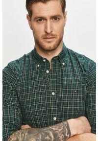 Zielona koszula TOMMY HILFIGER button down, długa, na co dzień