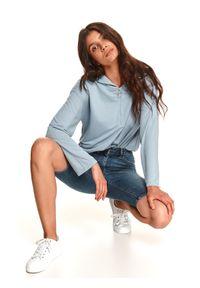 TOP SECRET - Jeansowe spodenki damskie do kolan. Kolor: niebieski. Materiał: jeans. Długość: do kolan