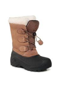 Kamik - Śniegowce KAMIK - Snowdasher WK4315 Putty/Beige. Okazja: na spacer. Kolor: brązowy, wielokolorowy, czarny. Materiał: skóra, zamsz. Sezon: zima