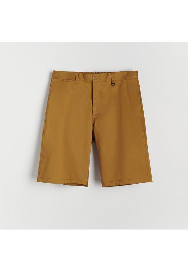 Reserved - Klasyczne bawełniane szorty - Żółty. Kolor: żółty. Materiał: bawełna. Styl: klasyczny