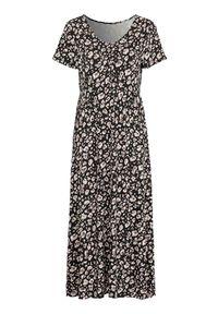 Czarna długa sukienka Cellbes z dekoltem w serek, z krótkim rękawem