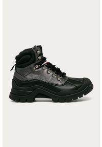 Srebrne buty trekkingowe TOMMY HILFIGER z okrągłym noskiem, na sznurówki