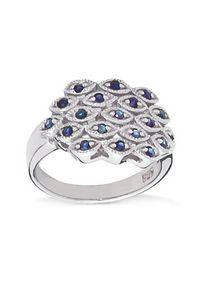 Braccatta - PAVO Srebrny pierścionek z niebieskimi szafirami. Materiał: srebrne. Kolor: srebrny, niebieski, wielokolorowy. Kamień szlachetny: szafir